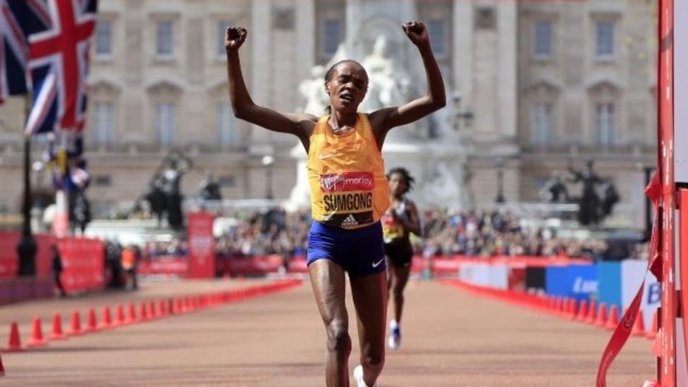 Jemima Sumgong wins marathon despite fall