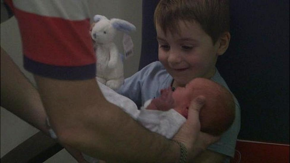 See boy's reaction to his new brother