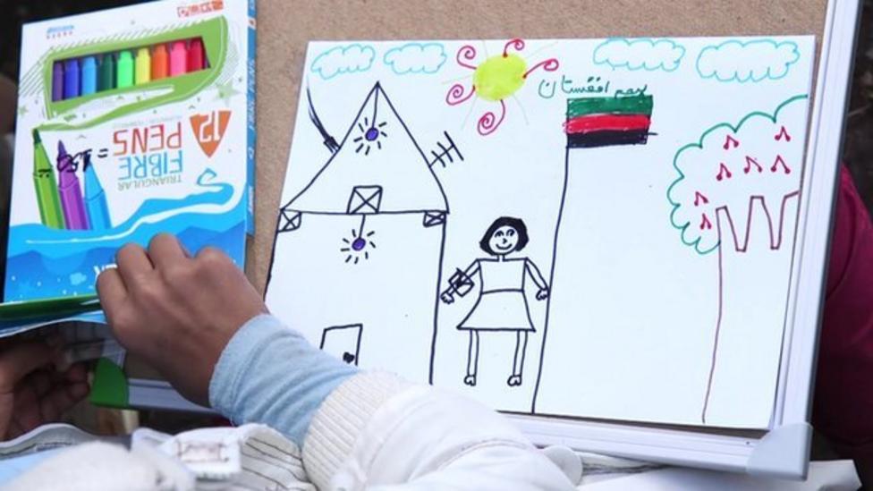 Migrant kids draw their journey