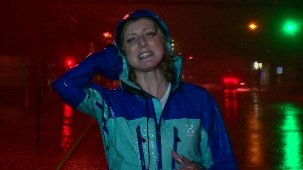 BBC reporter caught in heavy wind and rains