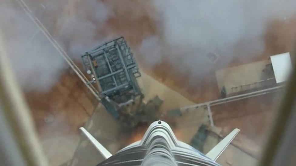 Space rocket lands safely