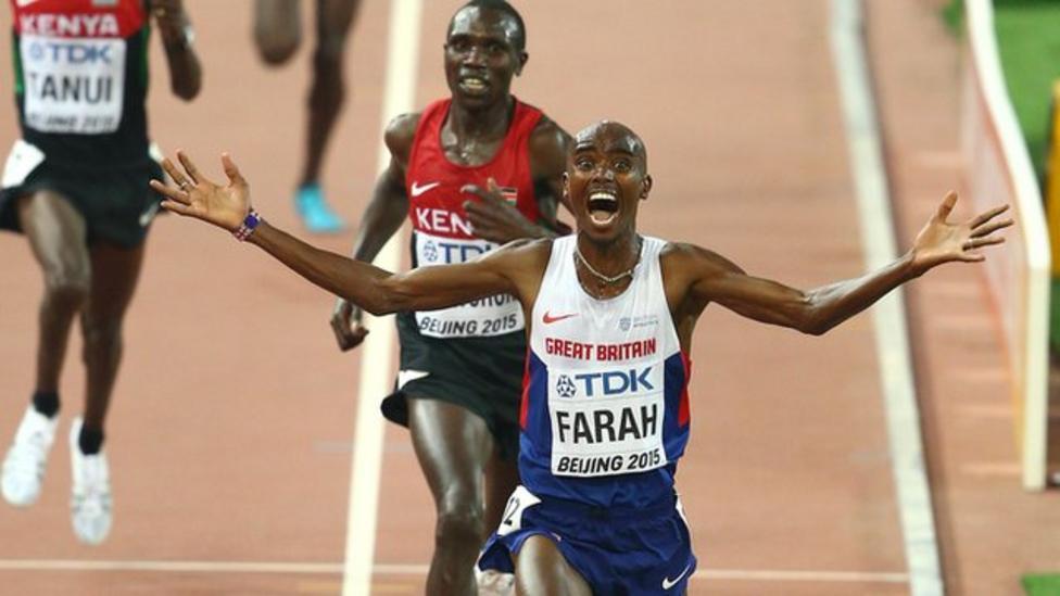 Mo Farah wins 10,000m gold medal