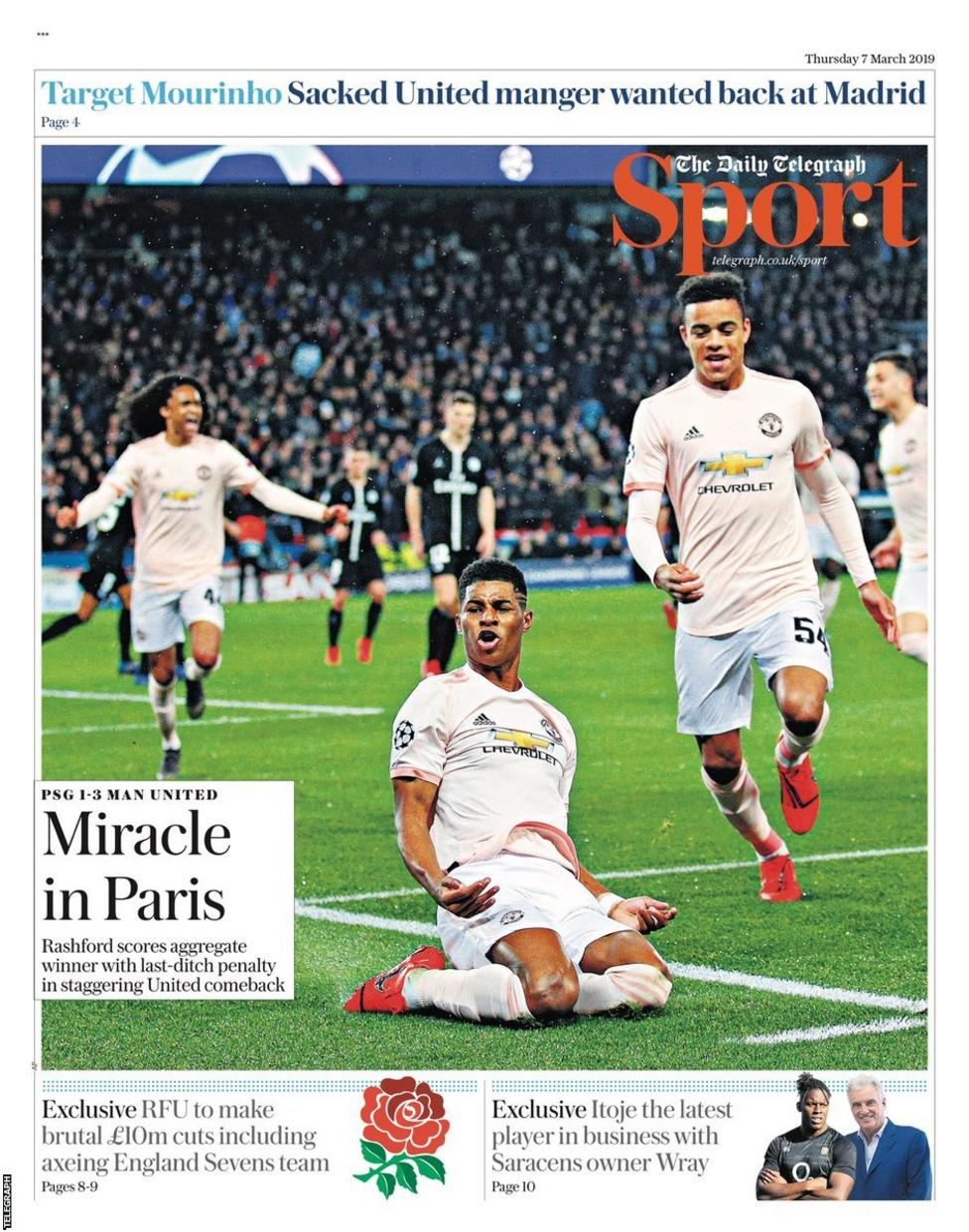 268e99879 All of Thursday s back pages lead on Man Utd s stunning win over PSG - here  is the Telegraph.