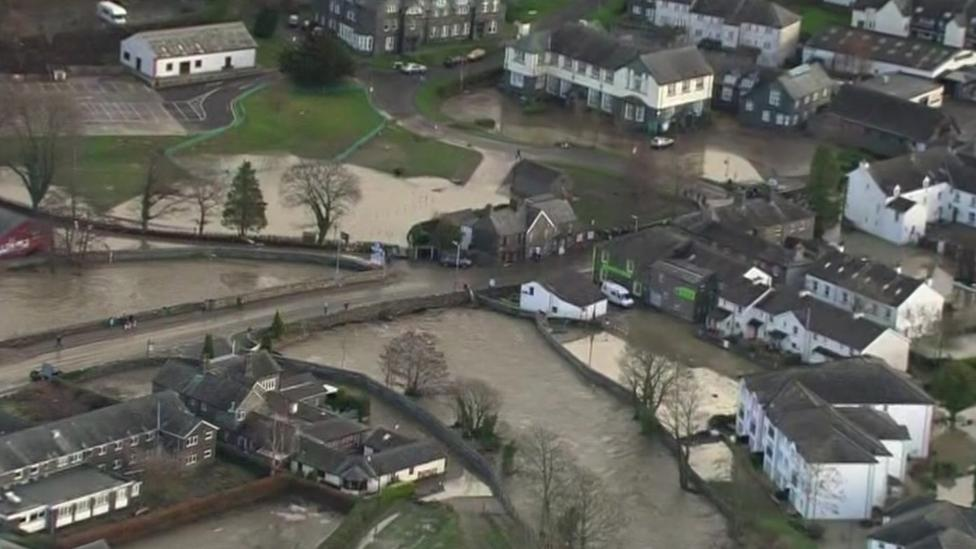 Storm Desmond flooding from above