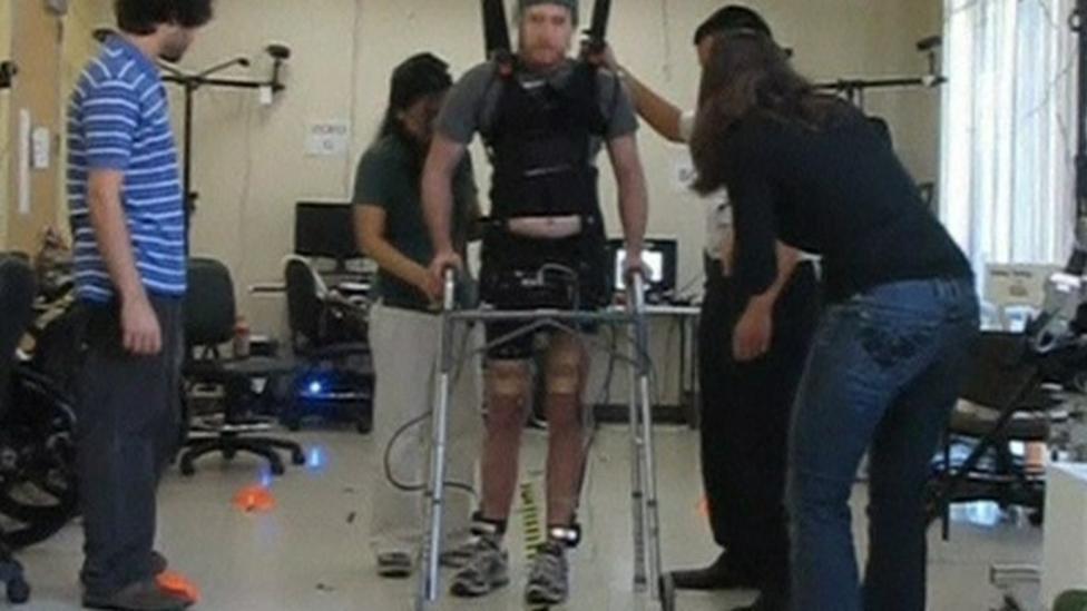 Brainwave tech helps man to walk again