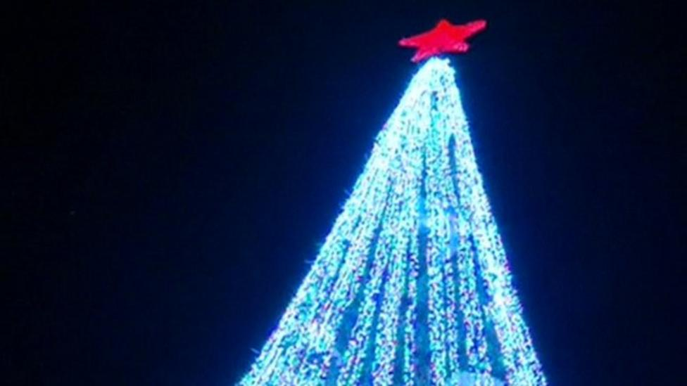 Half a million lights set Christmas tree record