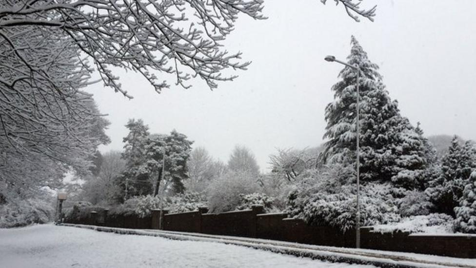 Snow falls across the north of England