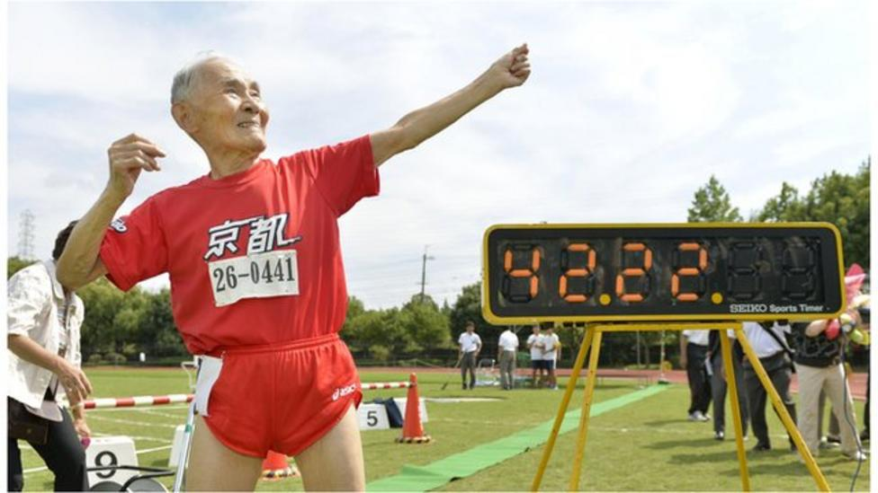 105 year old runs 100m in 42 seconds