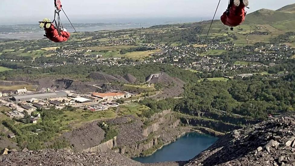 Stuntman on world's fastest zip line