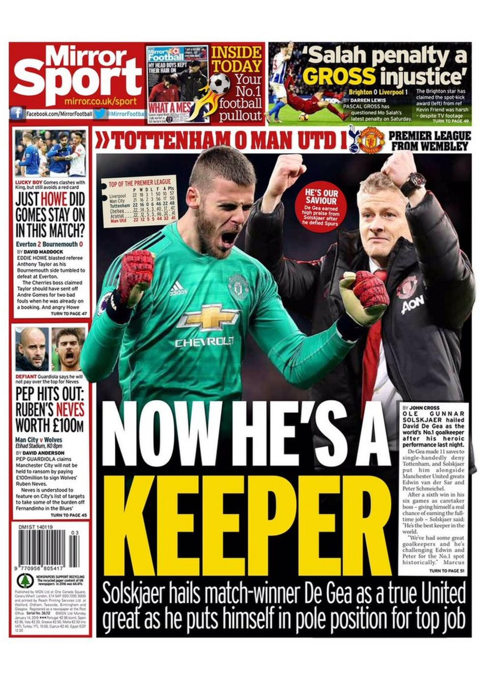 Monday's Mirror back page