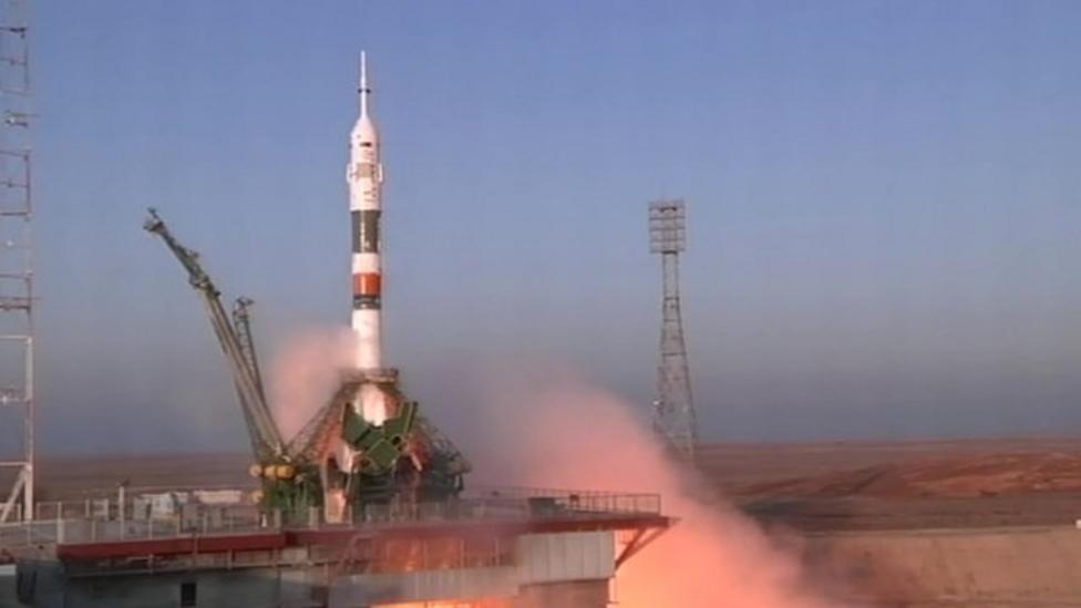 Rocket carrying Tim Peake blasts off