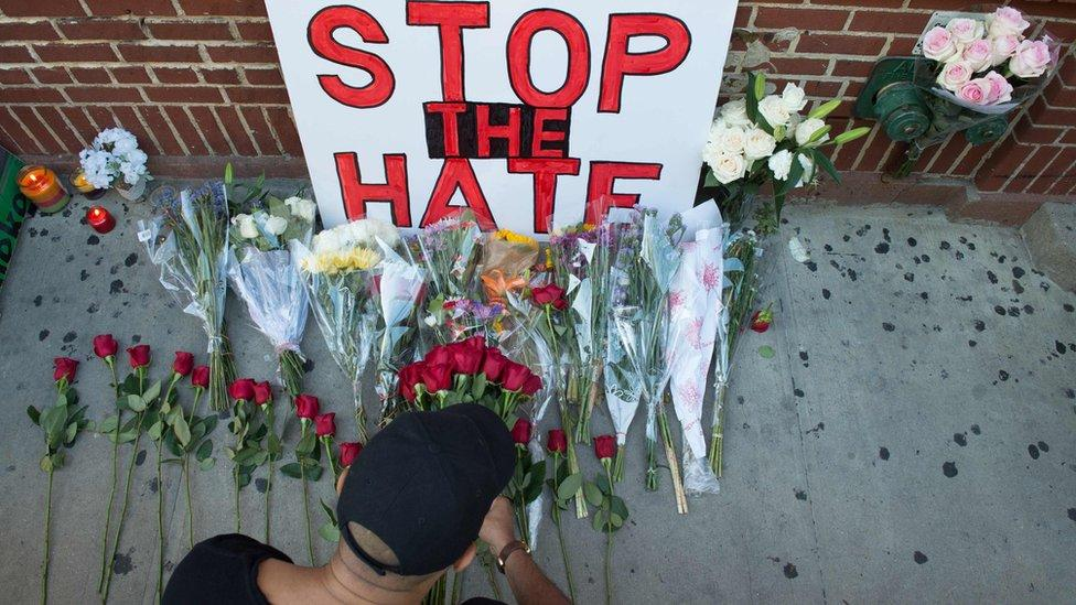 Flowers and candles for Orlando victims