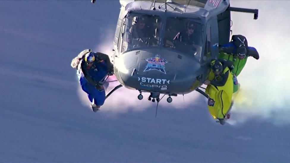 Wingsuit pilots take part in incredible race