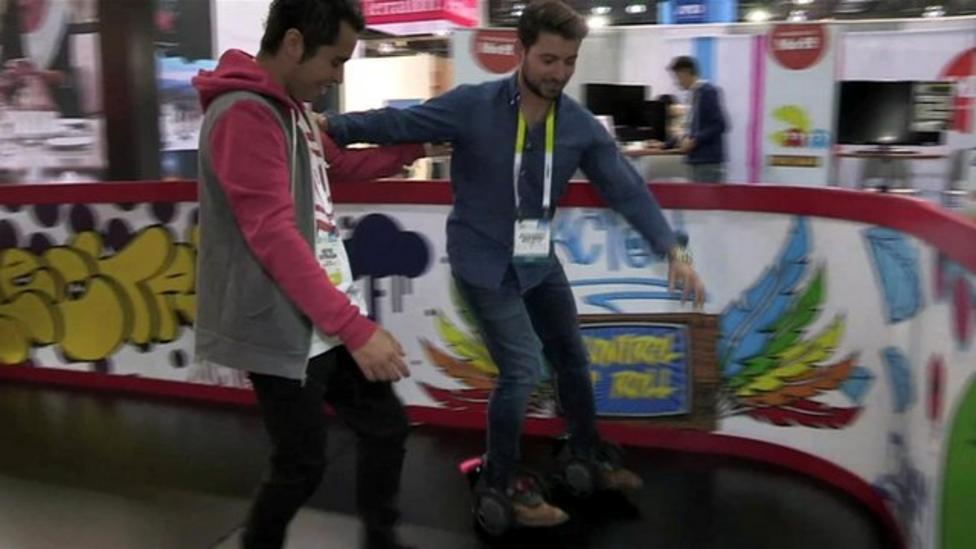 Ricky tries electric 'rocket skates'