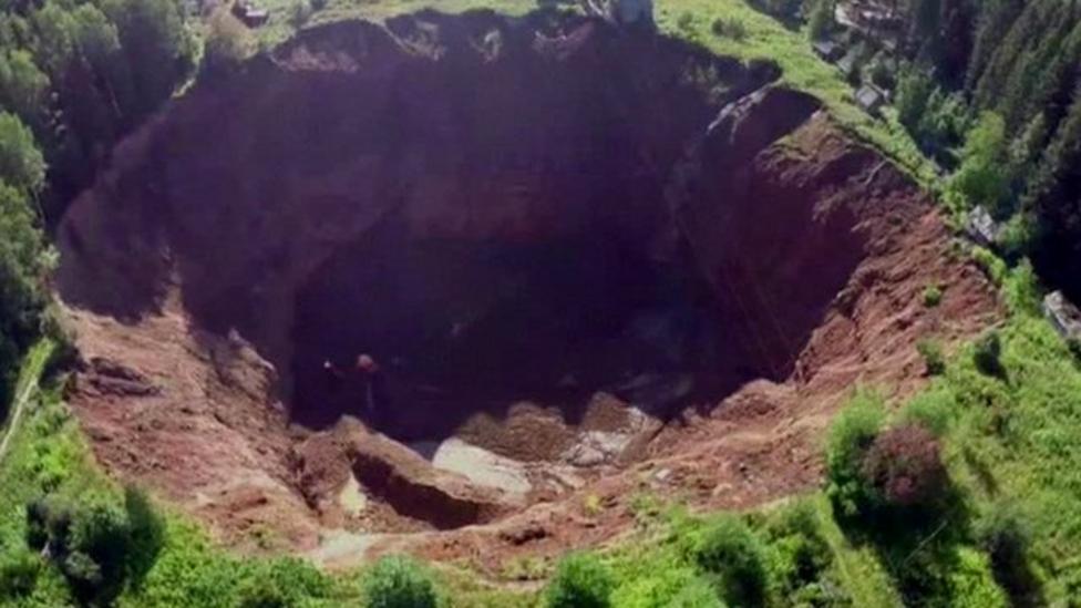Giant Russian sinkhole widens