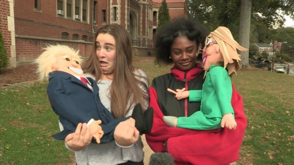 US kids react to Trump and Clinton puppets