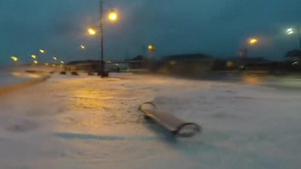 Storm Frank whips up sea foam