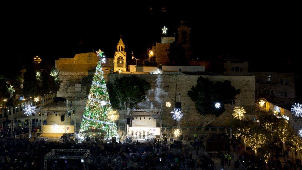 Christmas lights go on in Bethlehem