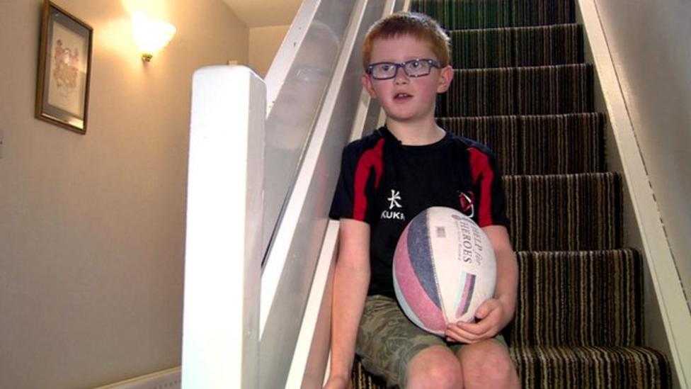 Young rugby player fights goggle rule