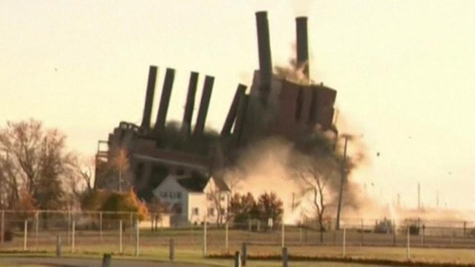 Controlled blast at old US power station