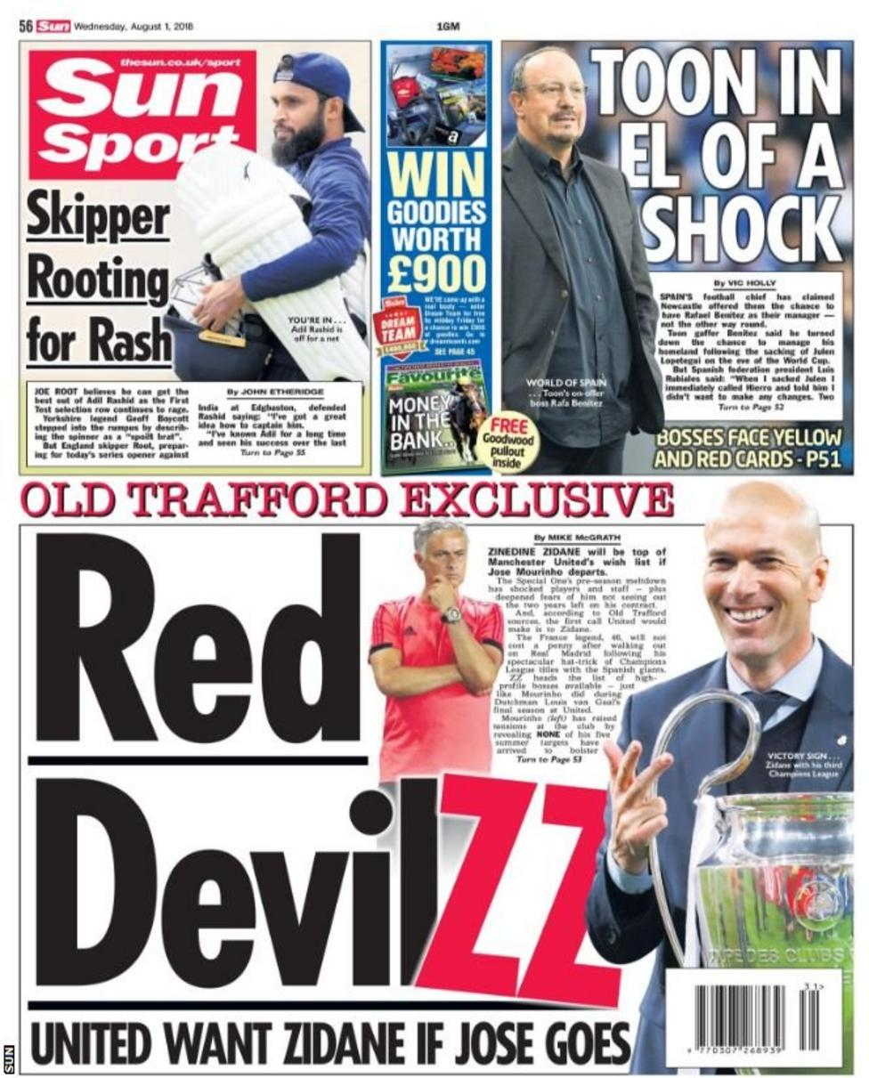 Picture of the Sun back page on Wednesday