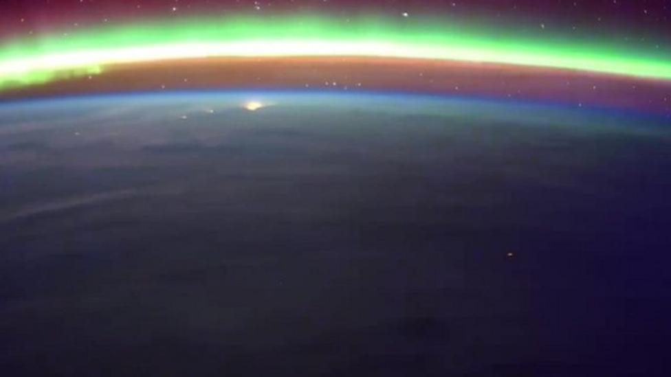 Stunning 'aurora rise' from space