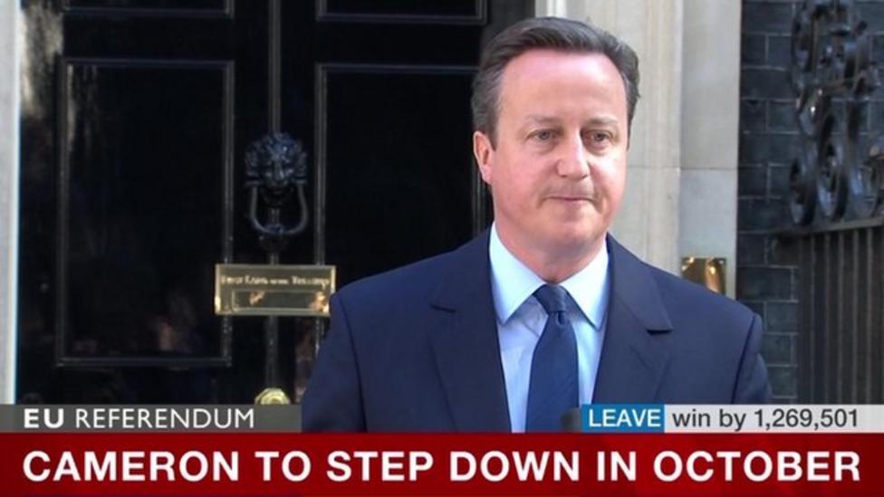 David Cameron announces he'll resign as PM