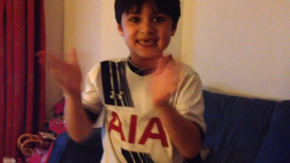 Spurs fans celebrate their win over Stoke