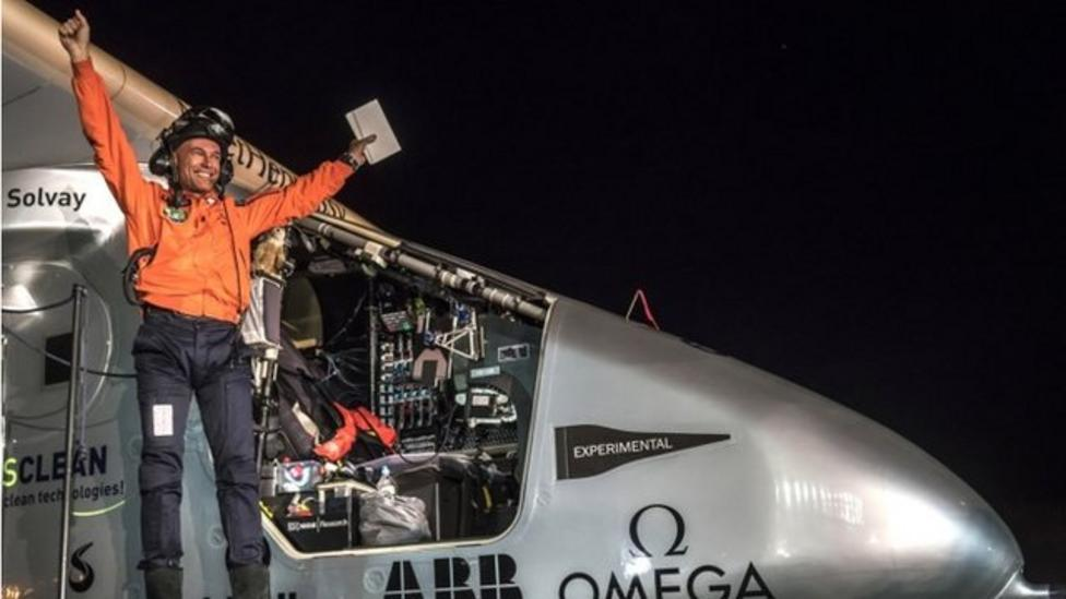 Solar Impulse plane lands in California