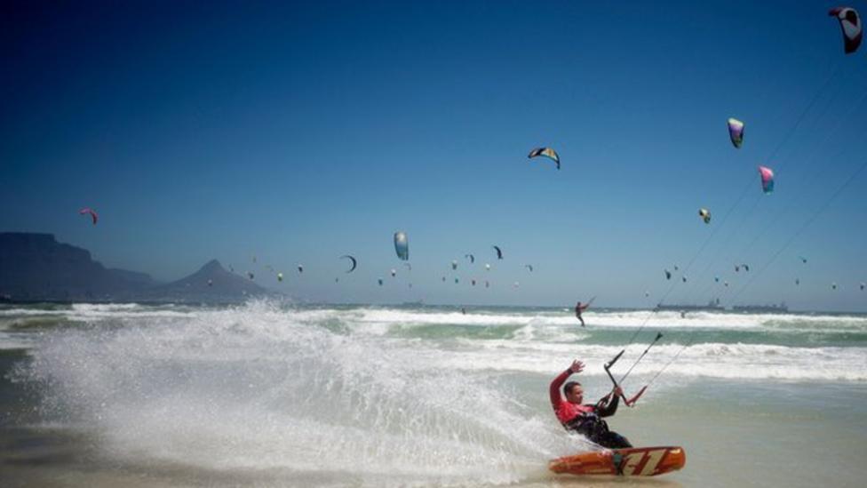 Hundreds of kitesurfers hit the waves
