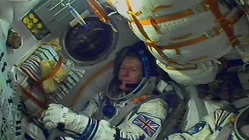 Tim Peake settles into the Soyuz
