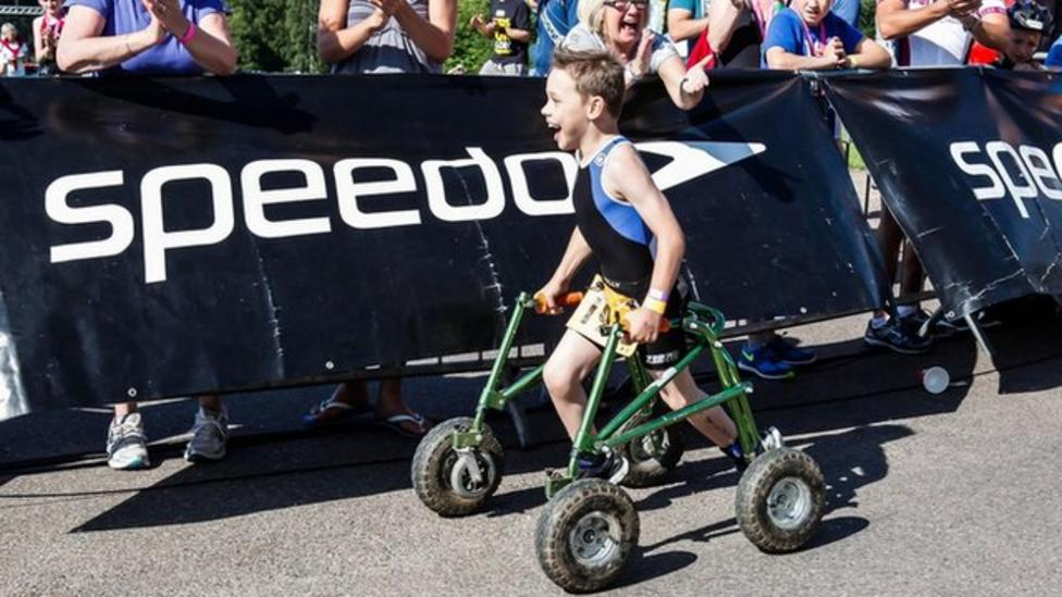 Eight-year-old completes triathlon