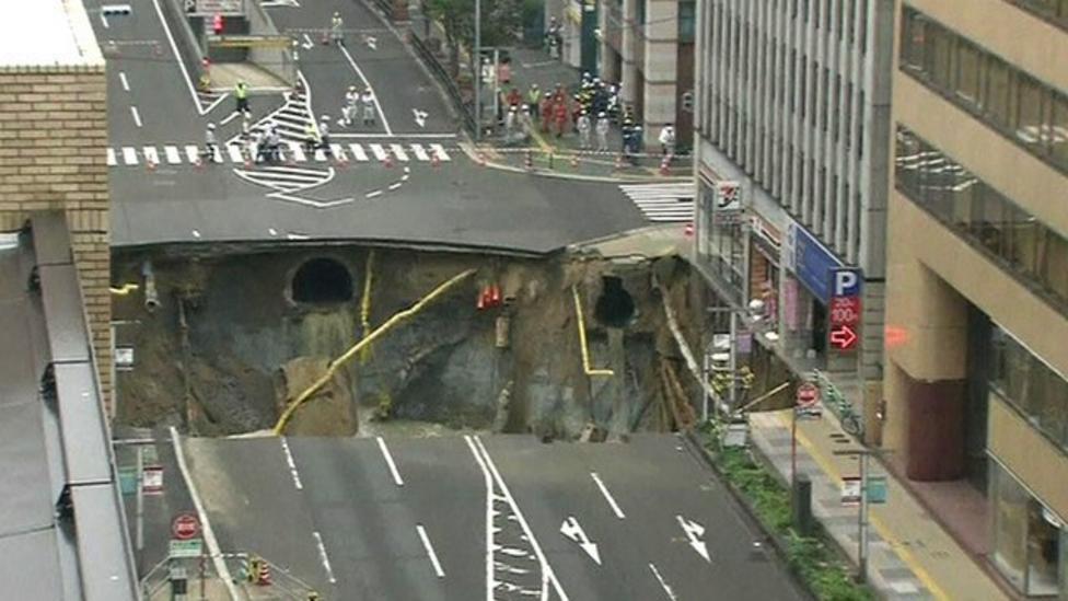 Massive sinkhole opens in Japan