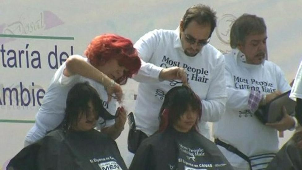 Hairdressing record attempt