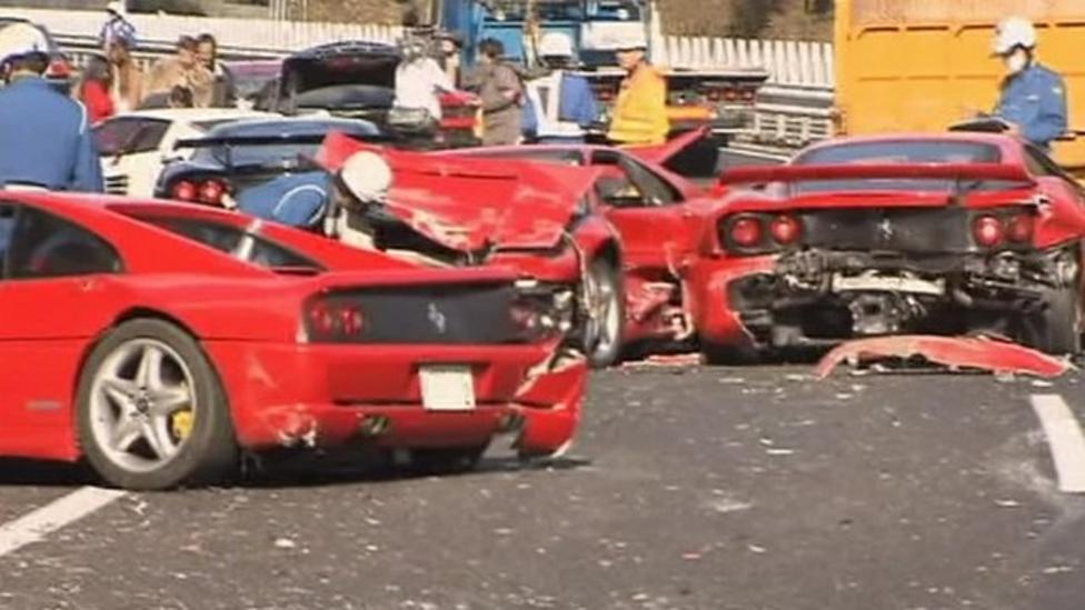 Luxury sports cars crash in Japan
