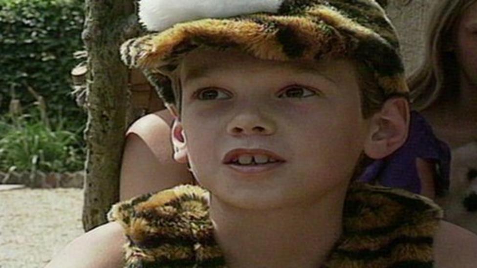 Joe Tidy appearing on Newsround as a child