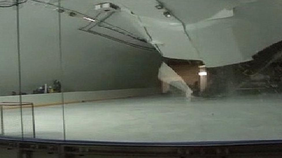 Ice rink roof caves in because of snow