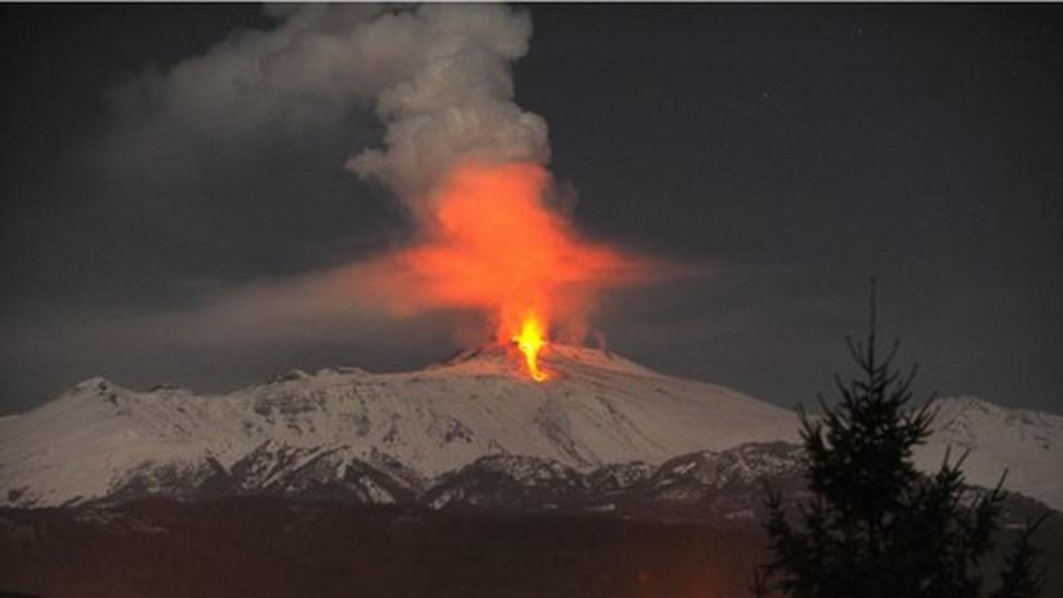 Mount Etna erupts with a bang