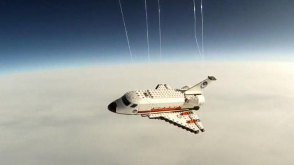 Lego shuttle almost reaches space