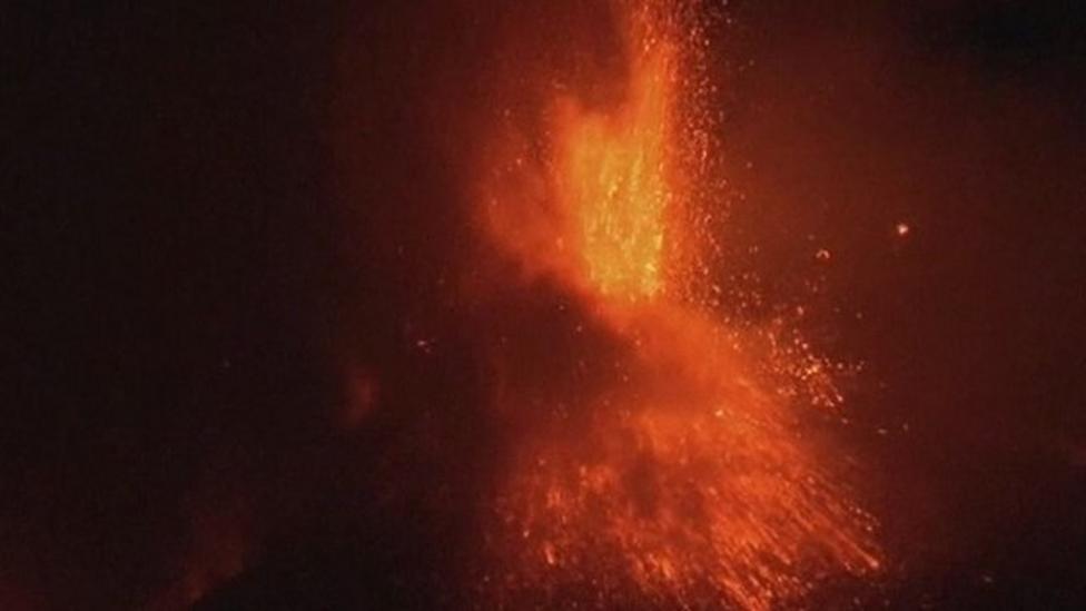 Volcano Mount Etna erupts again