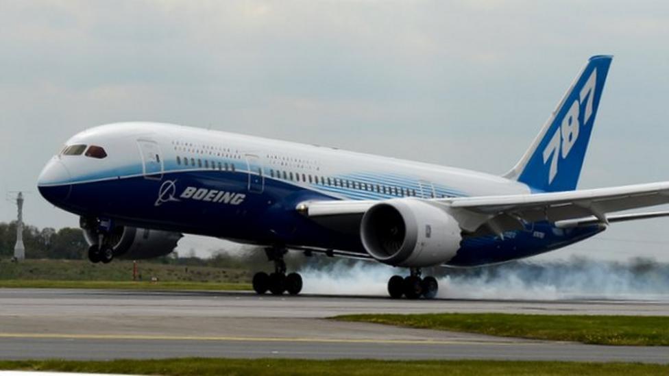 Brand new aeroplane touches down