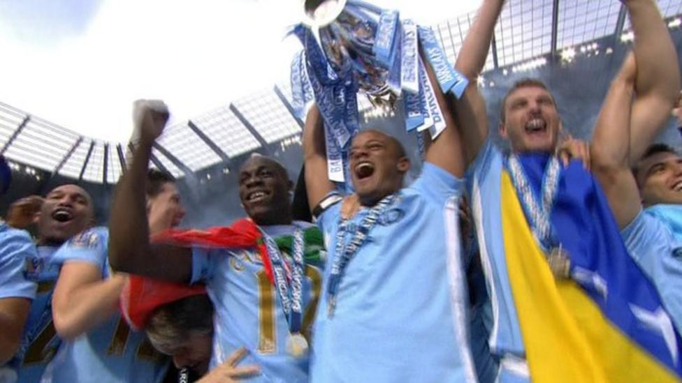 Man City lift Premier League trophy