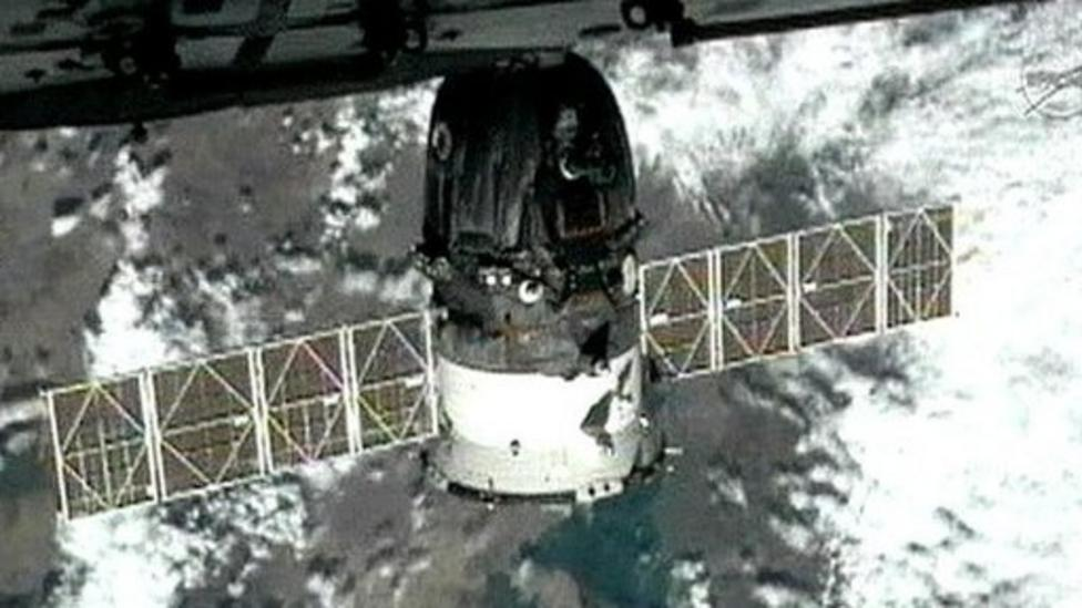 Watch the Soyuz spaceship dock at the International Space Station