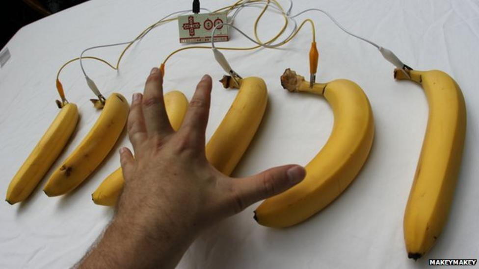 Banana, water and human touchpads