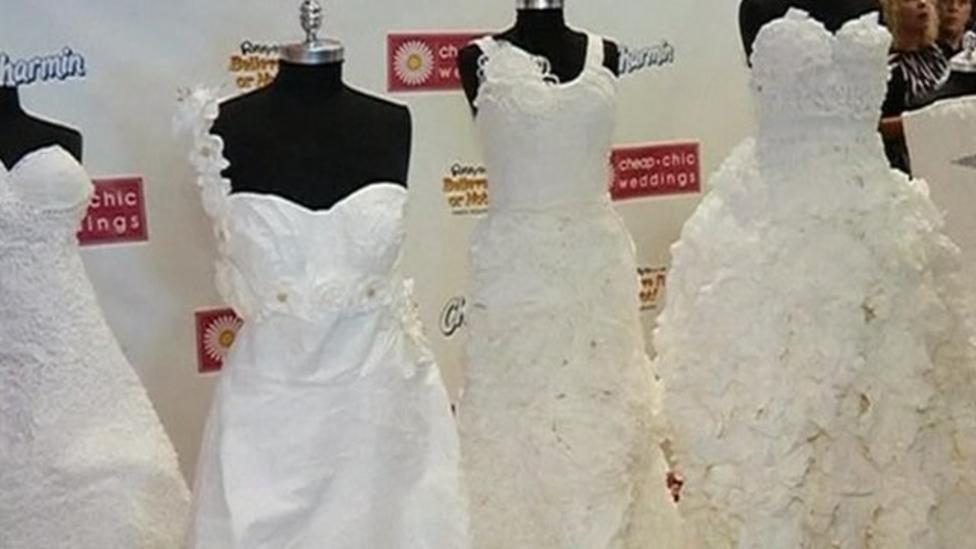 Wedding dresses made out of loo roll