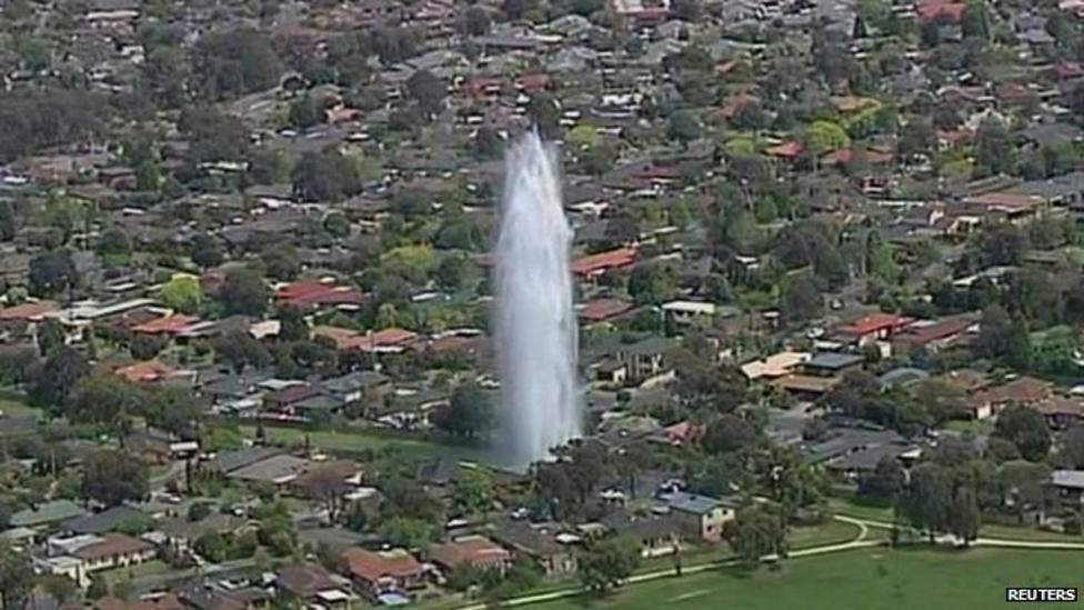 Burst pipe creates giant fountain