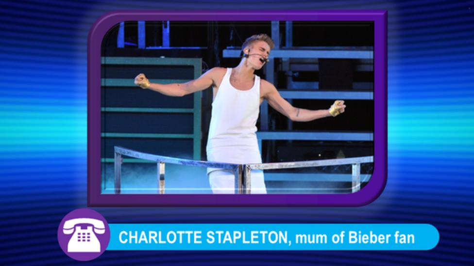 What happened at the Bieber gig?