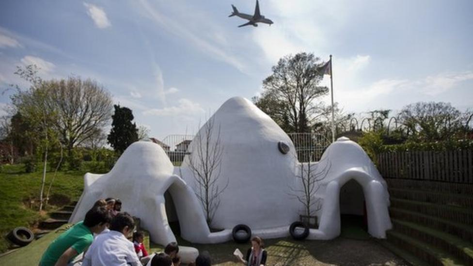 School domes cut airport plane noise