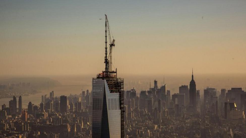 One World Trade Center spire added