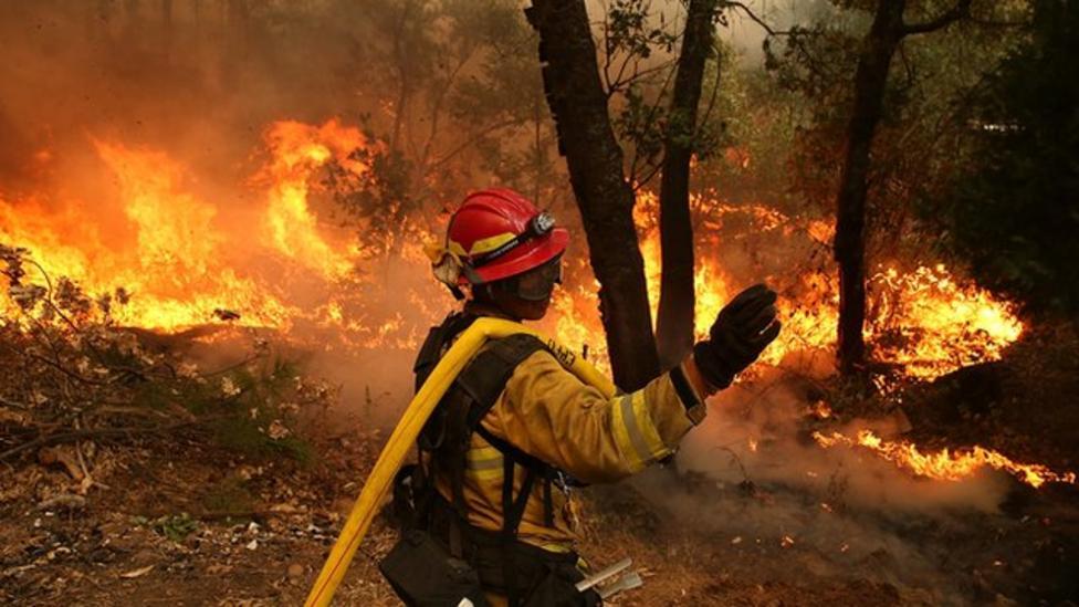 Wildfire near famous Yosemite National Park